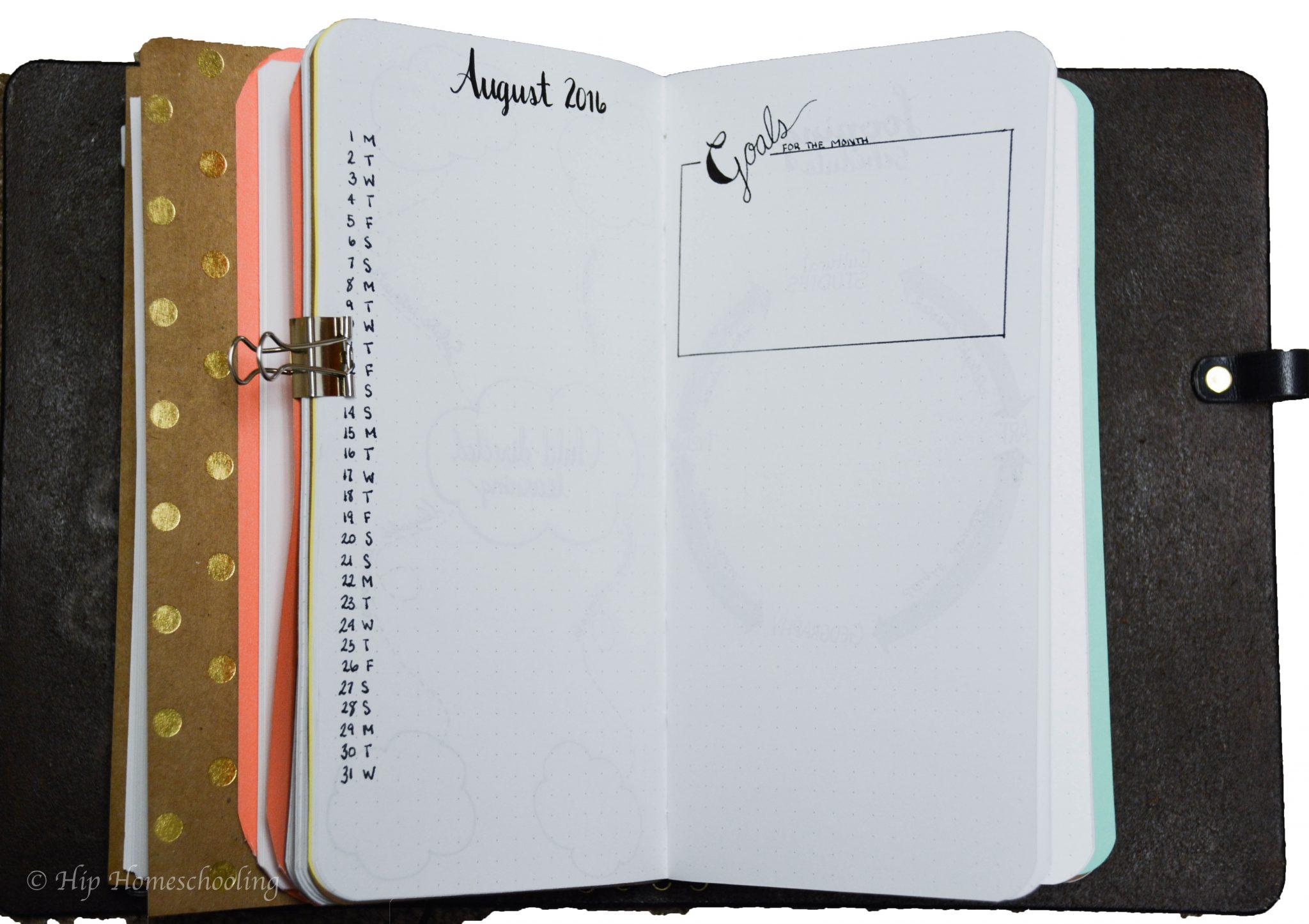 homeschool planning: my monthly spread