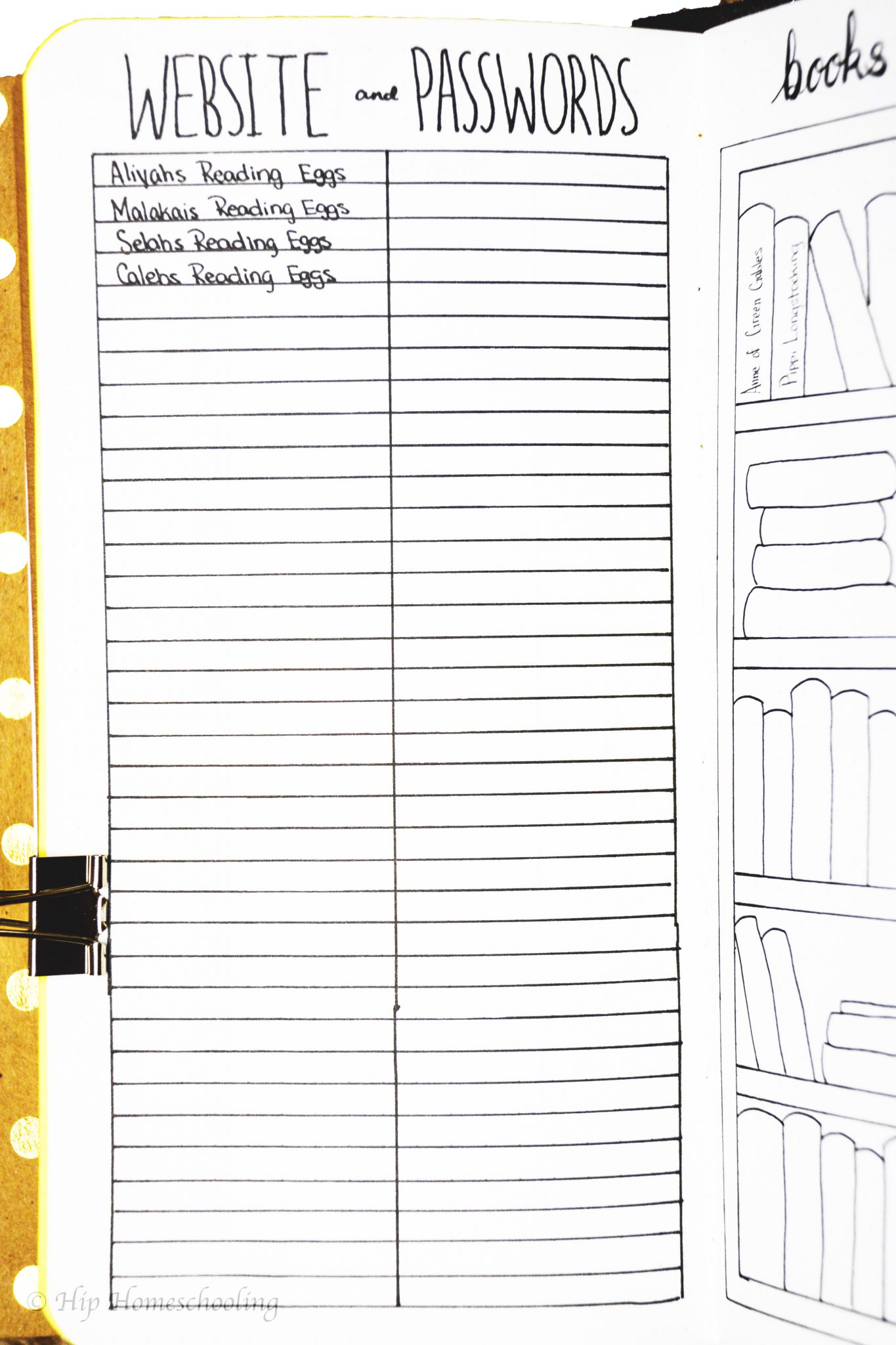 homeschool planning: our password tracker