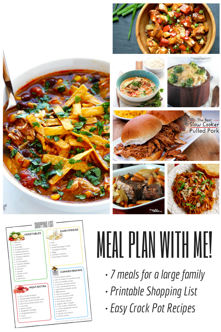 Meal Plan with Me! 7 Crock pot recipes for a large family with a printable shopping list! meal planning | crock pot meals | easy crock pot meals | large family meal planning | large family meal plan | meal plan ideas | meal plans for picky eaters| mea planner | meal planning ideas | meal planning printable | easy meal plan | slow cooker recipes | crock pot recipes