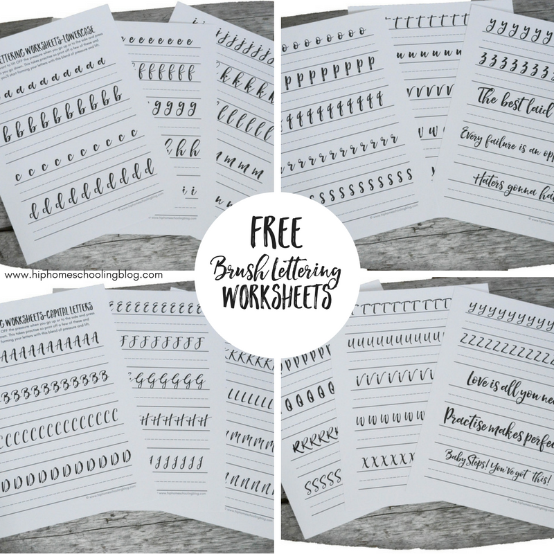 Free brush lettering worksheets for your bullet journal