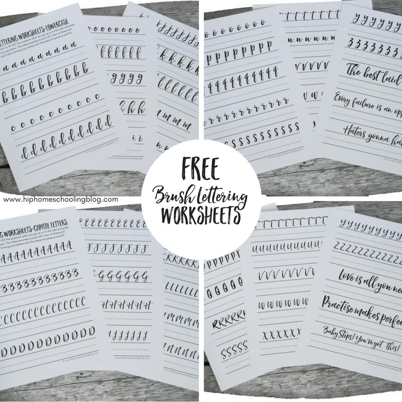 Free brush lettering worksheets for your bullet journal