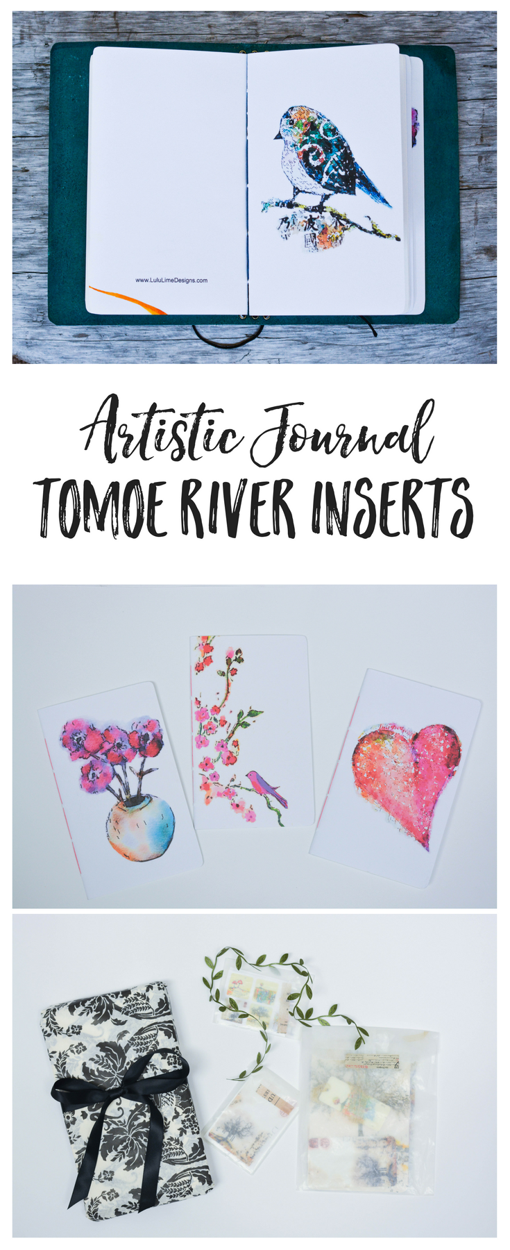 I love these stunning art journals with the decadent Tomoe River paper! tomoe river inserts | tomoe river notebooks | tomoe river writing | tomoe river journals | lulu lime designs | custom inserts | travelers notebook inserts | planner inserts | journal art | art journal | art journal inserts | chic sparrow inserts | midori inserts