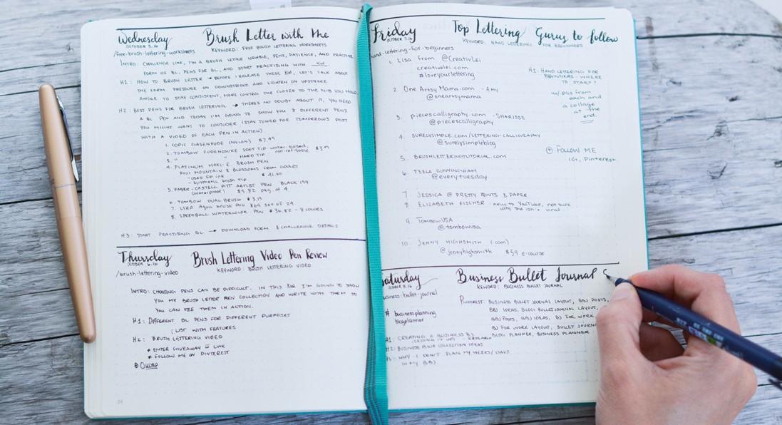 business bullet journal: blog planner