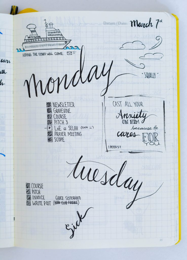 Bullet Journal Layout Idea: multiple days