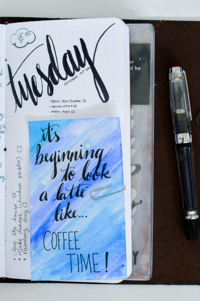 Bullet Journal Layout Idea: Bright card style