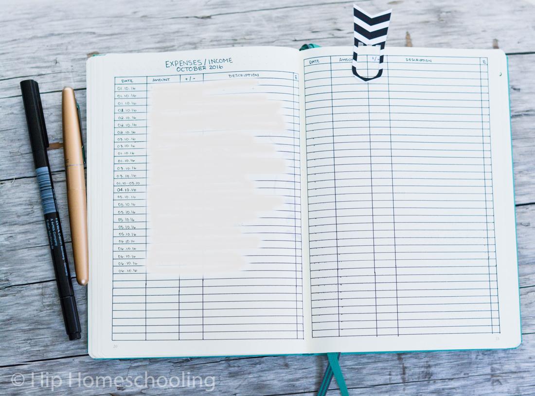 business bullet journal: expenses