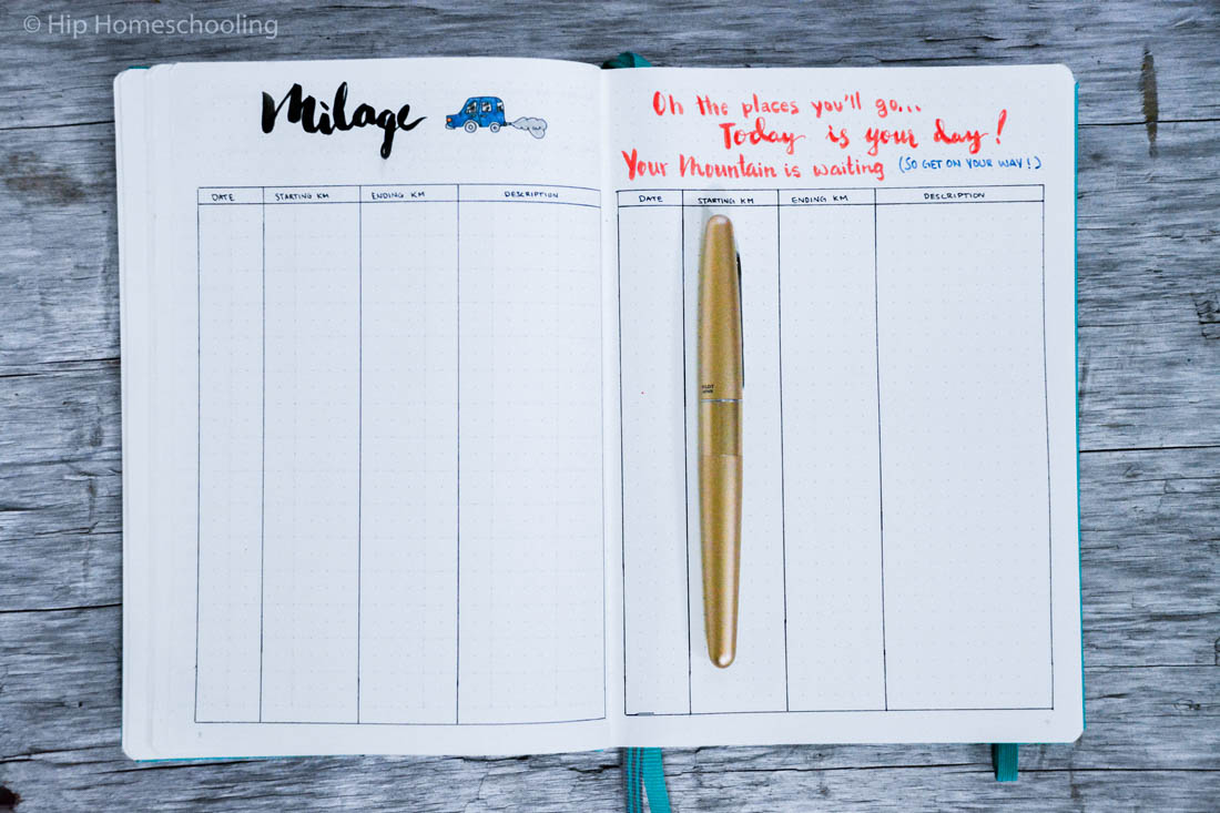 business bullet journal: mileage tracker