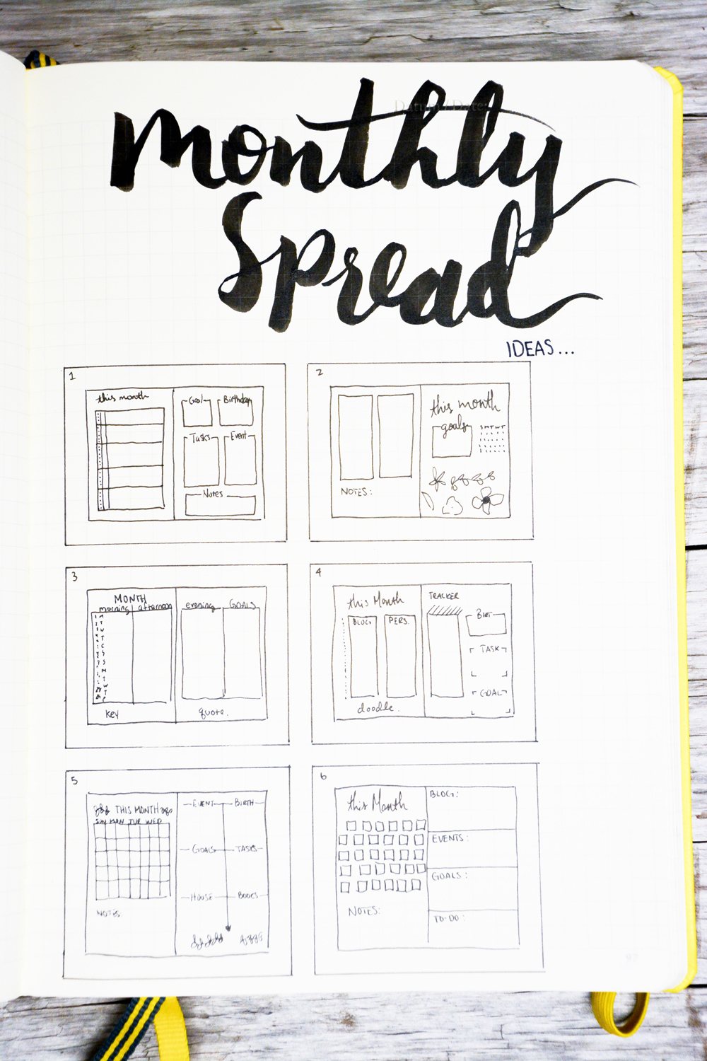 5 creative monthly spread ideas for your bullet journal. Black Bedroom Furniture Sets. Home Design Ideas