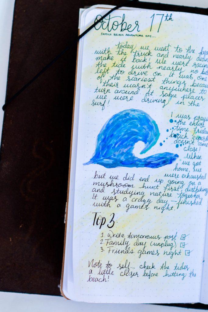 Bullet Journal Layout Idea: Journal/doodle/list combo