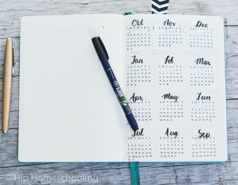 business bullet journal: year at a glance