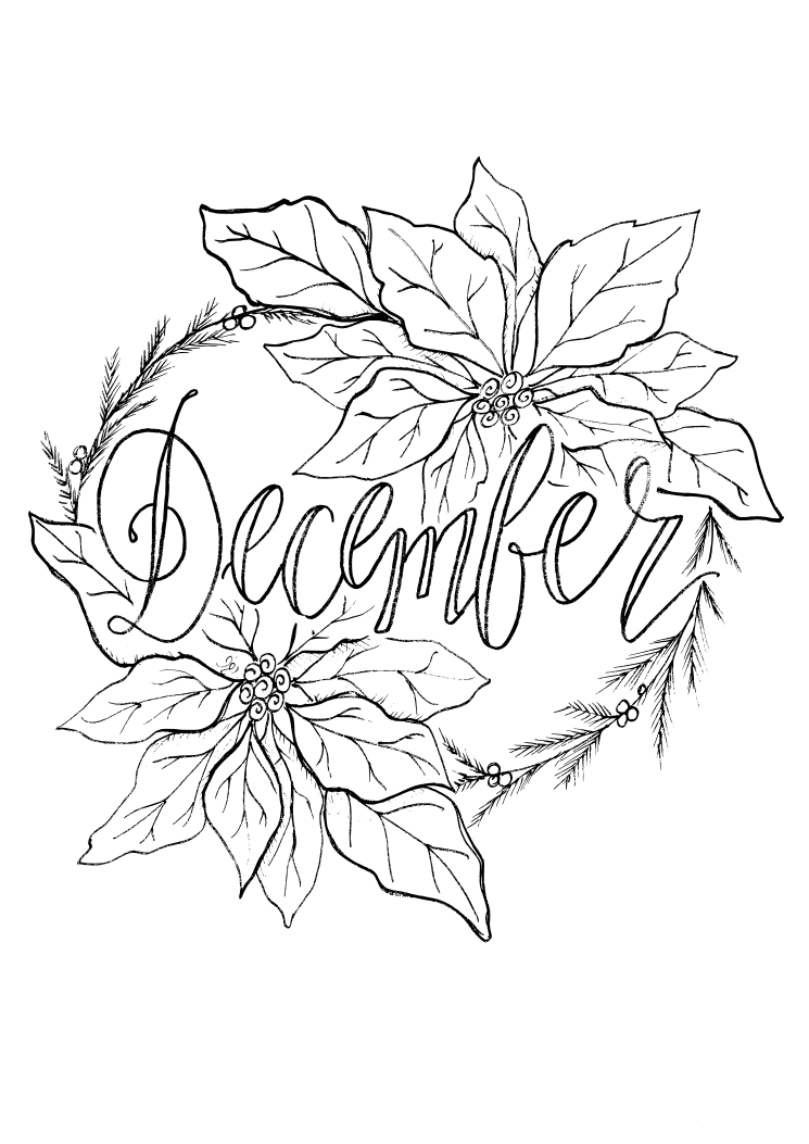 Planner circle hip homeschooling for December coloring page