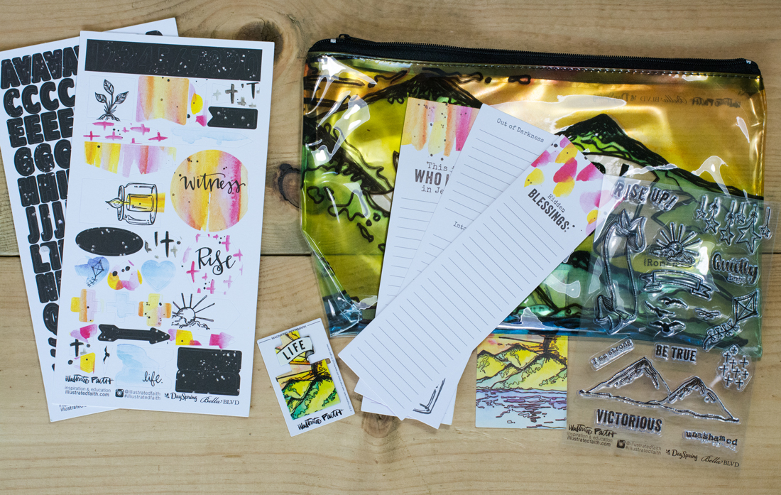 Bible journaling in a notebook: rise up illustrated faith devotional kit
